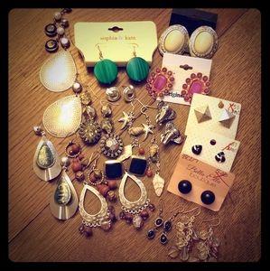 20 random pair pierced clip gaudy earrings